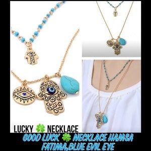 Jewelry - GOOD LUCK 🍀 NECKLACE HAMSA FATIMA,BLUE EVIL EYE